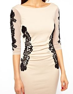 Ruched Dress in Applique Lace