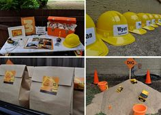 Who would have thought of a construction theme bday party? Construction Birthday Parties, Construction Party, 3rd Birthday Parties, Birthday Fun, Birthday Ideas, Birthday Banners, Construction Worker, 1st Birthdays, Digger Party