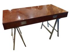 Mid-Century Italian Burl Walnut Desk  | The Outpost  #antiques #interiors #design #home #interiordesign #midcentury #modern #handcrafted #handmade #vintage