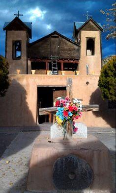 Inside the courtyard to the Sanctuario de Chimayo, near Santa Fe, NM, the Land of Enchantment.