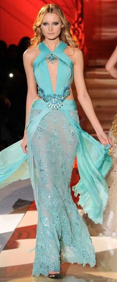 Turquoise Gown...Zuhair Murad. Looks like a mermaid queen :)