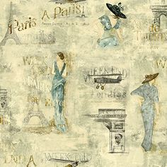 For the walk in Closet - York Wallcoverings Europa II Weekend In Paris Prepasted Wallpaper, Dove Grey/Aqua Blues/Brown York Clip Art Vintage, Prepasted Wallpaper, Graphic 45, Decoupage Paper Printable, Vintage Graphics, Art, Vintage, Printable Pictures, Owl Clip Art