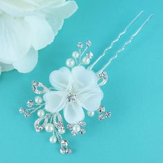 Swarovski crystal pearl wedding hair pin, bridal hair accessories, pearl rhinestone flower hairpin, bridal hair pearl, bridal hairpins