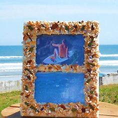 Sea Shell Pieces and Sea Glass Mosaic 9x7 Split by HammockLifeMDSE
