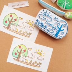 Eraser Stamp, Japanese Funny, Japanese Drawings, Stamp Carving, Fabric Stamping, Stamp Printing, Mail Art, Cute Drawings, Handicraft