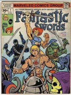 Fantastic Swords (Pure Awesome Retro Pop Art Parody Piece cartoon He-Man, Lion-o, thundercats, Thundercats, Comic Book Covers, Comic Books Art, Comic Art, Gi Joe, Dc Comics, D Mark, Morning Cartoon, Cartoon Crossovers