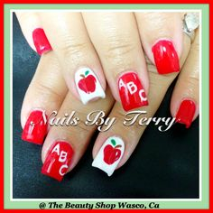Back to school teachers gel nails with red apple
