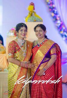 Pattu Sarees Wedding, Indian Bridal Sarees, Indian Bridal Outfits, Indian Bridal Wear, Silk Sarees, Saree Jewellery, Diamond Jewellery, Bridal Jewellery, Half Saree Function