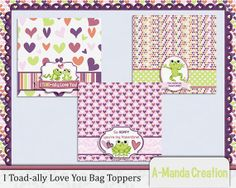I Toad-ally Love you printable Valentine Bag Toppers