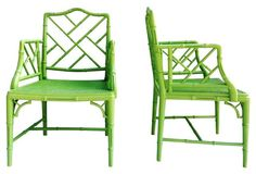 Gorgeous pair of poplar wood faux-bamboo armchairs with caned seats, painted in a cheerful apple green.