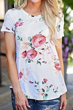 Random Floral Print T-shirts in White