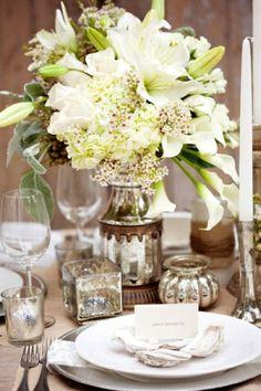 nice mercury glass centerpiece wedding with beautiful lilies!