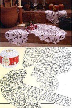 Best 12 World crochet: Napkin 341 Crochet Table Topper, Crochet Table Runner Pattern, Crochet Doily Diagram, Crochet Doily Patterns, Crochet Tablecloth, Crochet Chart, Filet Crochet, Crochet Motif, Crochet Collar