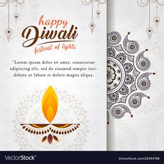 Beautiful Happy Diwali Greeting Diya Festival Stock Vector (Royalty Free) 1208384041 Beautiful happy diwali greeting with diya for festival of lights