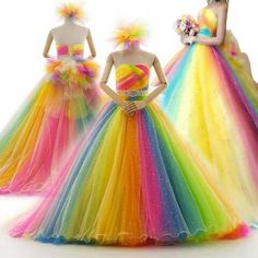 For the times when you really can't decide on which colour to wear. Rainbow Wedding Dress, Wedding Dress Sash, Wedding Dresses, Rainbow Dresses, Unicorn Wedding, Unicorn Dress, Beautiful Gowns, Dream Dress, Pretty Dresses
