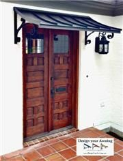 The Tuxedo Gray metal Concave Door Awning with the Lazy Scrolls Metal Door Awning, Front Door Awning, Diy Awning, Front Door Decor, Copper Awning, Door Overhang, Front Porch, House Awnings, Window Awnings