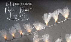 DIY Pixie Dust Lights   Disney Style - I am going to do this with purple tulle to go with her room.