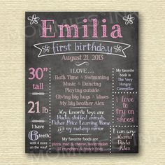 Printable First Birthday Chalkboard Sign  YOU PRINT by MommiesInk, $20.00 NOT hand painted. e-design you print.