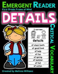 $ Here's an easy and fun way to introduce those challenging Common Core critical vocabulary words to your K-1 students! Print, staple and cut in half to get 2 b/w emergent readers per page! Each booklet may be given to the students to foster ownership of