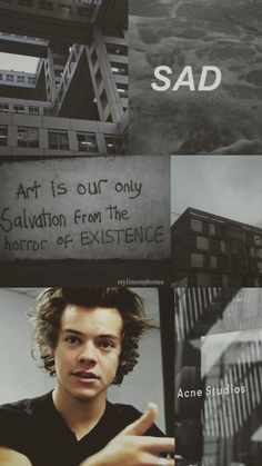 Art is our only salvation from the horror of existence. Harry Styles Sad, Harry Edward Styles, Harry Styles Lockscreen, Harry Styles Wallpaper, Song Suggestions, Bae, Larry Shippers, Holmes Chapel, Love Of My Life