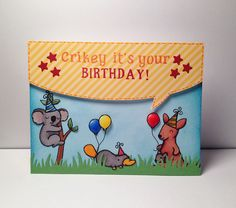 "Lawn Fawn ""Crikey it's your birthday!"" Card 