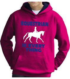 TWO TONE Hot Pink/Navy Hoodie 'EQUESTRIAN IS EVERYTHING' with White & Pearlescent Blue.
