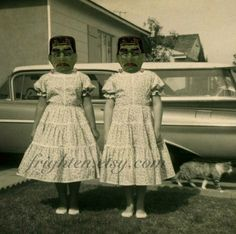 Halloween Decor Twin Sisters with Frankenstein Masks