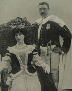 William Humble Ward, 2nd Earl of Dudley and his wife, Rachel Countess of Dudley. Coronation robes worn for the crowning of the Prince of Wales who became King Edward VII in 1902. King Edward [Bertie] was a friend of the Ward family who visited and stayed at Witley Court.