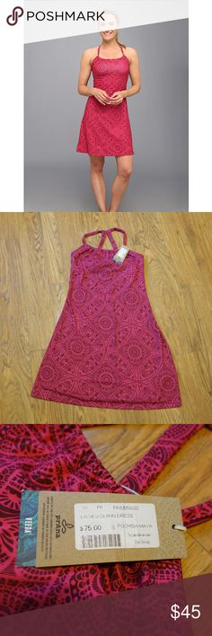 Prana Quinn Bra Dress in Fucshia Maya NWT Beautiful Prana Quinn dress in Fuschia Maya print. Inner shelf bra. NWT. Stock photo included for best representation of color and fit. Prana Dresses