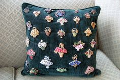 Display a pin collection on a pillow or all those 1 earrings, sew them on!