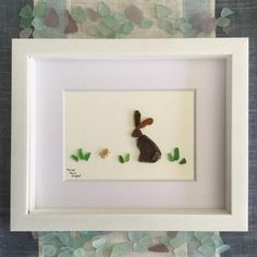 Baby Bunny with Little Chickie -Easter Décor –Sea Glass Art.- Baby Bunny with Little Chickie -Easter Décor –Sea Glass Art –Shadowbox -Framed Sea Glass Art –Baby Décor –Nursery Wall Art –Maine - Sea Glass Crafts, Sea Glass Art, Glass Wall Art, Shell Crafts, Stained Glass Art, Water Glass, Fused Glass, Sea Glass Decor, Glass Beads