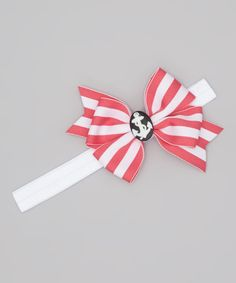 Take a look at this Hot Pink & White Stripe Nautical Bow Headband on zulily today!