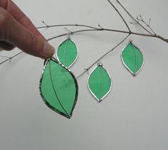 Set of 4 Stained Glass Green Leaves, Ornaments, Home Decor, Garden Art, Fairy Garden, Suncatcher, Window Hanging on Etsy, $12.00