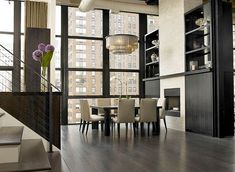 Square table in luxurious dining room