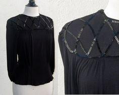 Vintage Black Blouse w Sequins  Sz M 1940s by SirenSongVintageShop, $27.00
