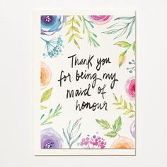 Thank You For Being My Maid of Honour - Greetings Card, Bridal Card, Wedding Card by ShortAndSweetPrint on Etsy