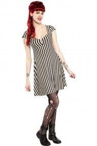 Women's Vavavoom Stripe  Dress - Cream/Black