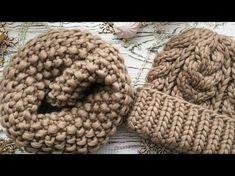 Теплый,зимний комплект: шапка и снуд с узором из кос. Часть 1. Шапка с двойной резинкой.Hat & snood. - YouTube