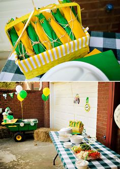 {John Deere Inspired} Tractor Birthday Party // Hostess with the Mostess® 3 Year Old Birthday Party Boy, 2nd Birthday Party Themes, Construction Birthday Parties, Twin Birthday, Birthday Ideas, Birthday Banners, Construction Party, Birthday Invitations, Tractor Birthday