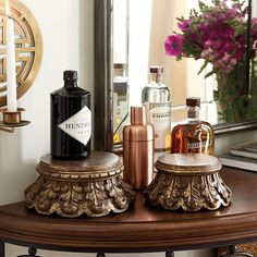 Add height and texture to tabletops and special objects with our classically inspired Wooden Pedestals. Each is hand carved of mango wood with acanthus details and finished in glowing aged gold. Wooden Pedestal features:Mix & match sizes to create staggered heightsMolded crownExpect delightful variations