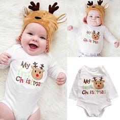 "Baby Boy & Girl "" My Very First Christmas"" Onesie"