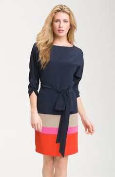 Eliza J Colorblock Silk Crêpe de Chine Dress | Nordstrom  Like the colors (navy) and the neckline and the back
