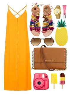 """Summer Brights"" by monmondefou ❤ liked on Polyvore featuring Topshop, Elina Linardaki, Ray-Ban, Miss Selfridge, Kate Spade, Beauty Rush, Summer, yellow and bright"
