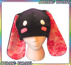 Blushy Flower Bunny Hat  Black Fleece Spring Rabbit by AnimeNoms, $20.00