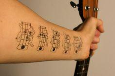 hahahahaha!   temporary tattoos of basic ukulele chords