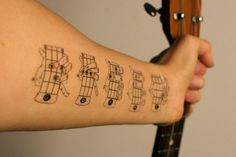 hahahahaha!   temporary tattoos of basic ukulele chords