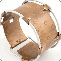 MIXED METAL BANGLE - Hand stamped bronze and silver. Designed by THOMAS MANN.