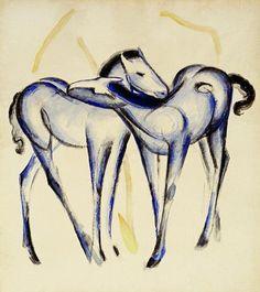 Marc, Franz : Dos caballos azules
