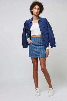 MOTO Stripe A-Line Skirt