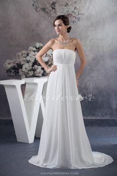 Bridesire - A-linje Axelbandslös Golvlång Hovsläp Ärmlös Chiffong brudklänning [BD4758] - SEK769.04 : Bridesire
